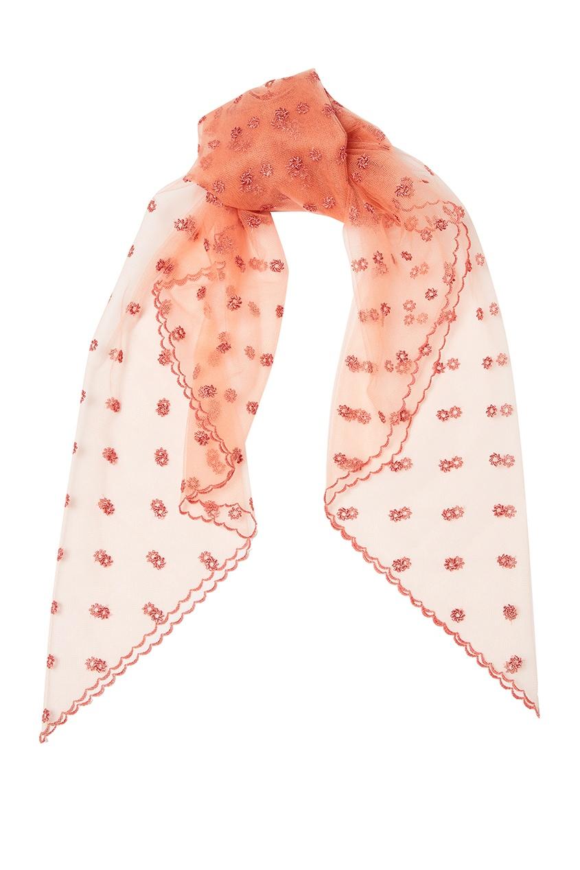 Платок из розовой сетки с вышивкой