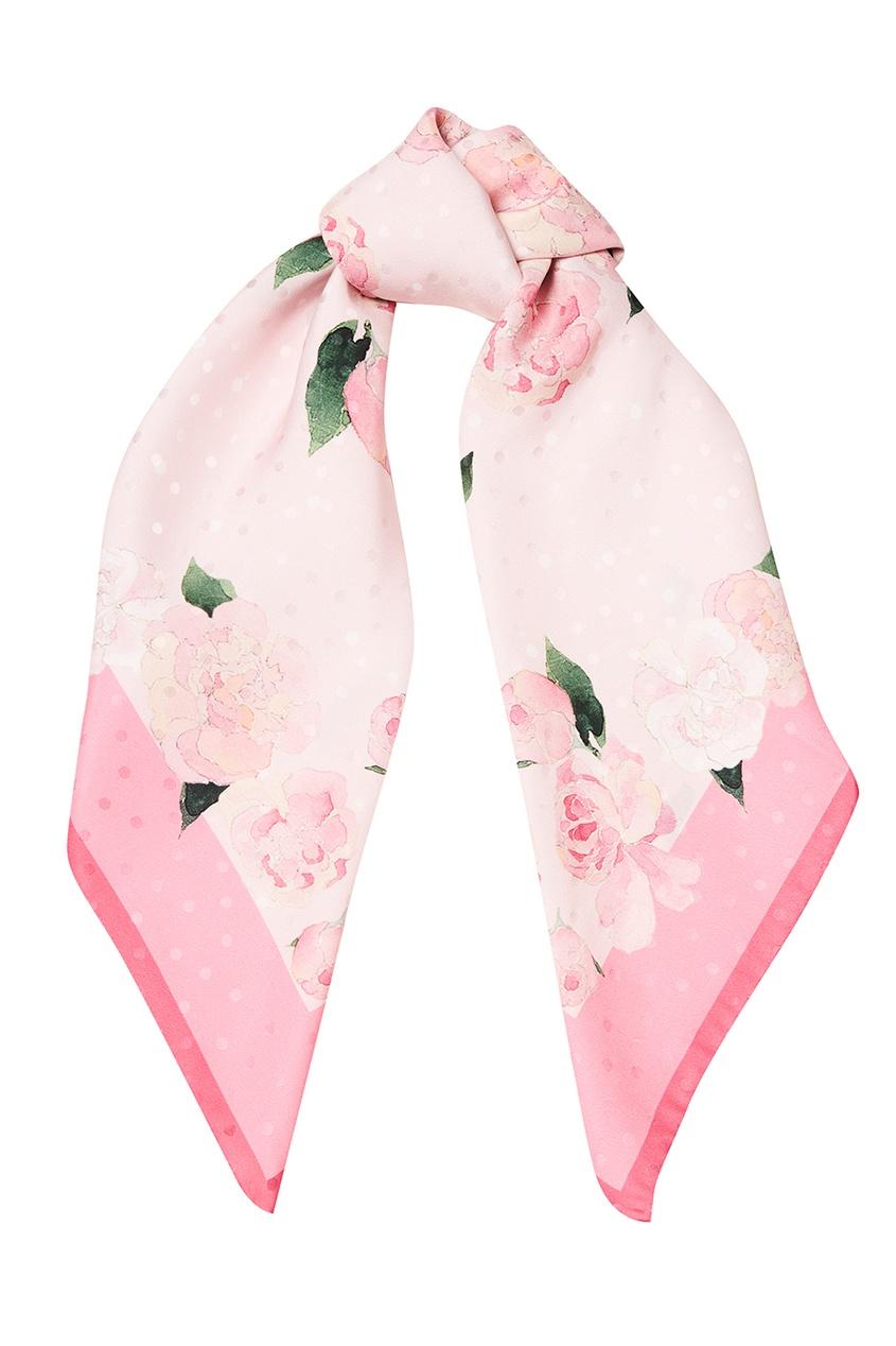 Розовый шелковый платок с пионами