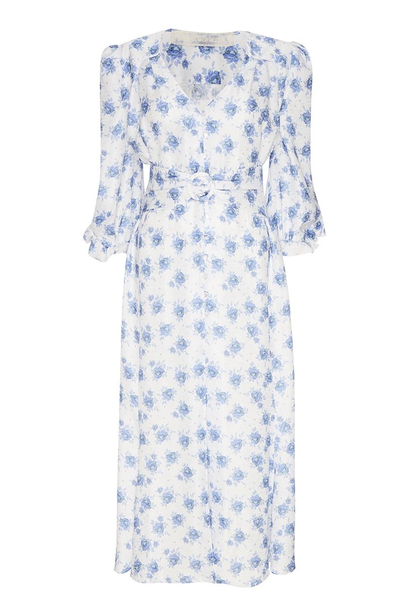 Ulyana Sergeenko Белое платье с голубыми цветами