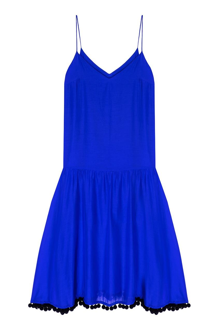 Синее платье с помпонами