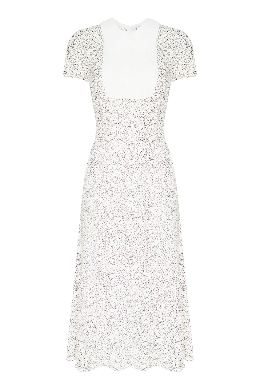 Белое платье-миди с точками