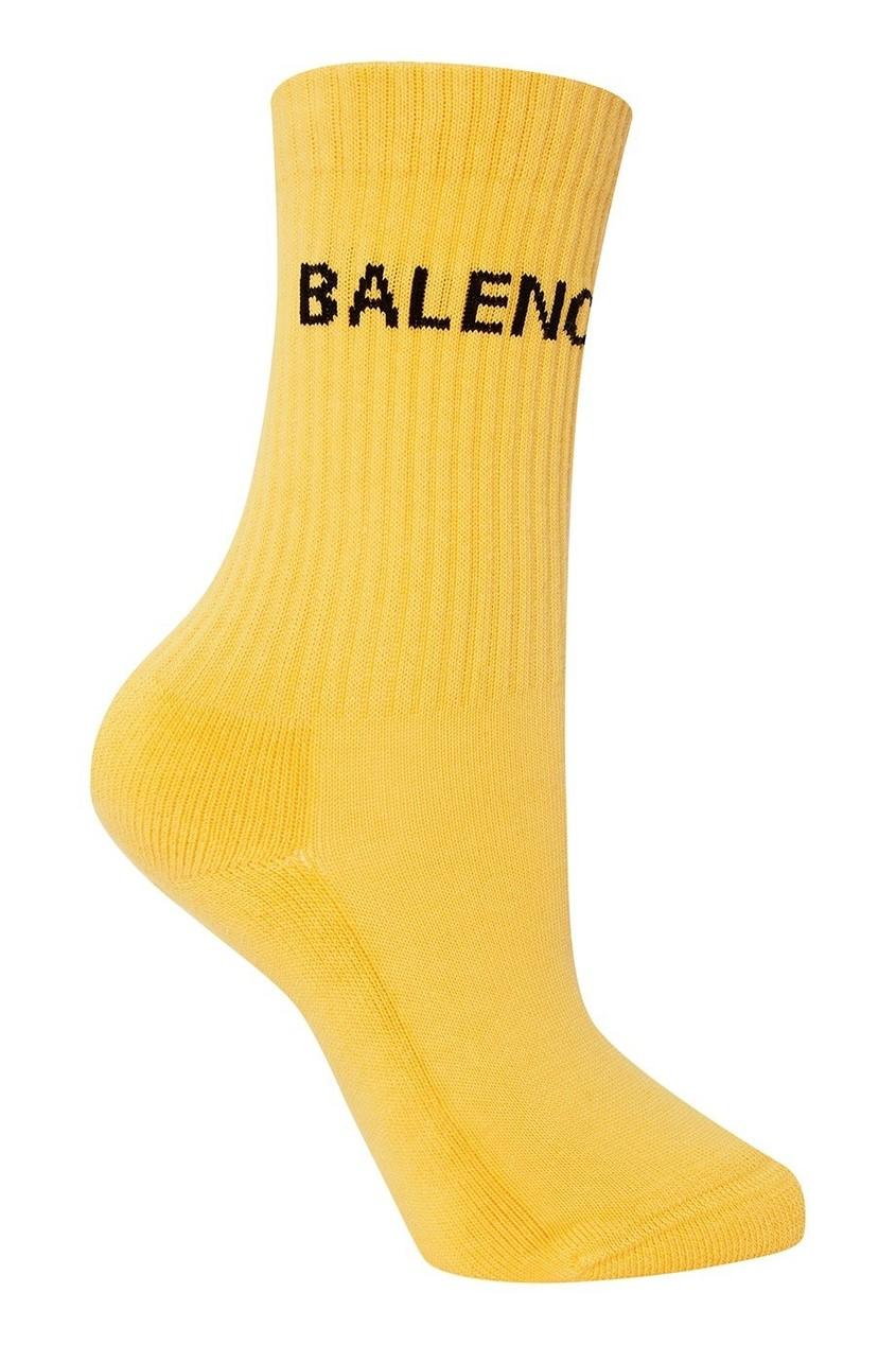 цена на Balenciaga Желтые носки из хлопка с логотипом