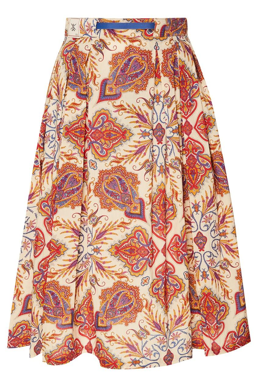 Льняная юбка с принтом