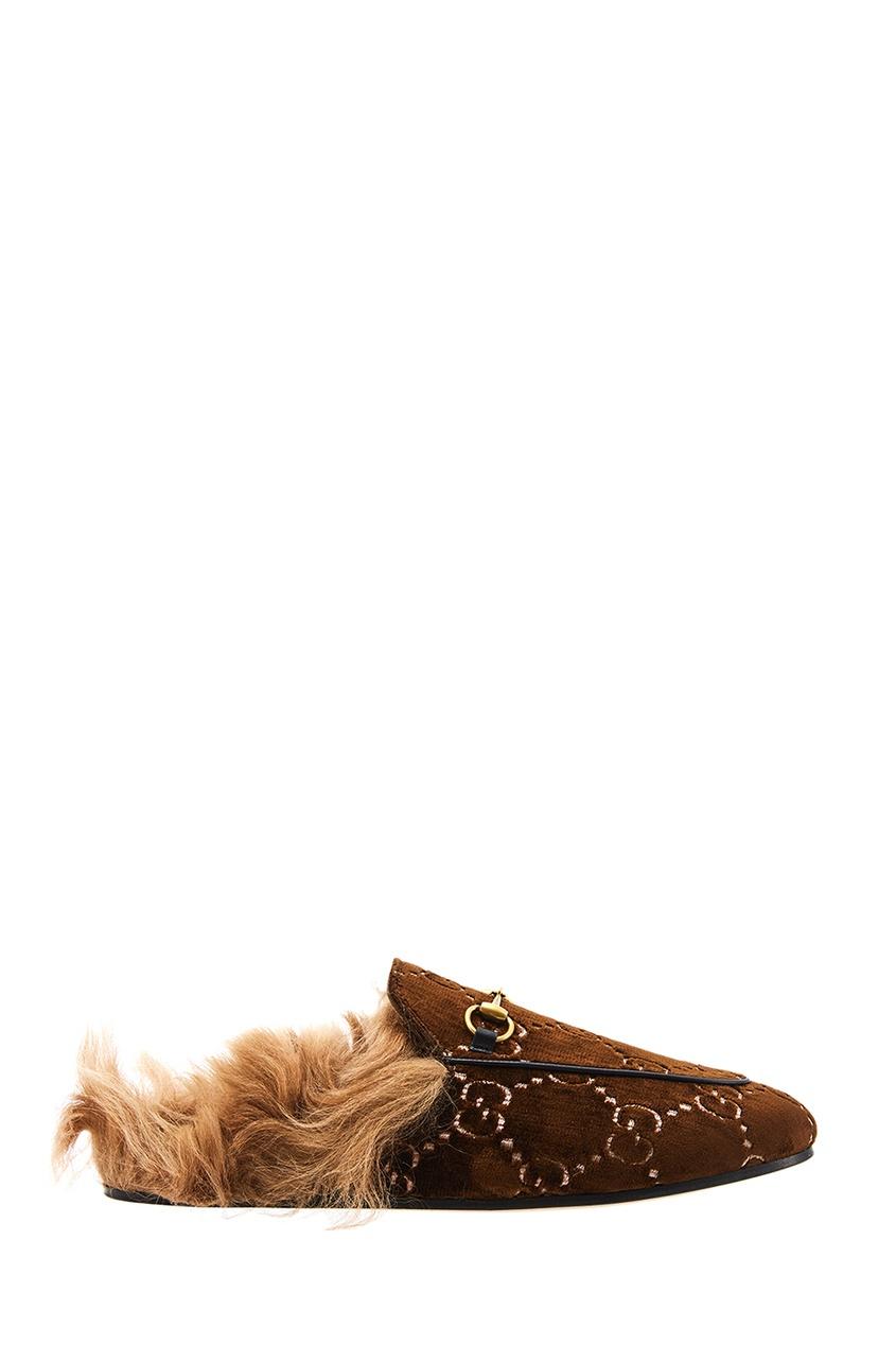 Бархатные слиперы с меховой стелькой Gucci