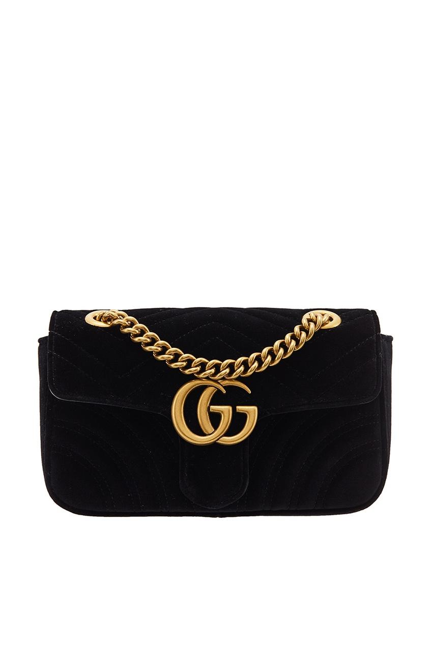 Gucci Черная бархатная сумка GG Marmont gucci кожаная сумка gg marmont