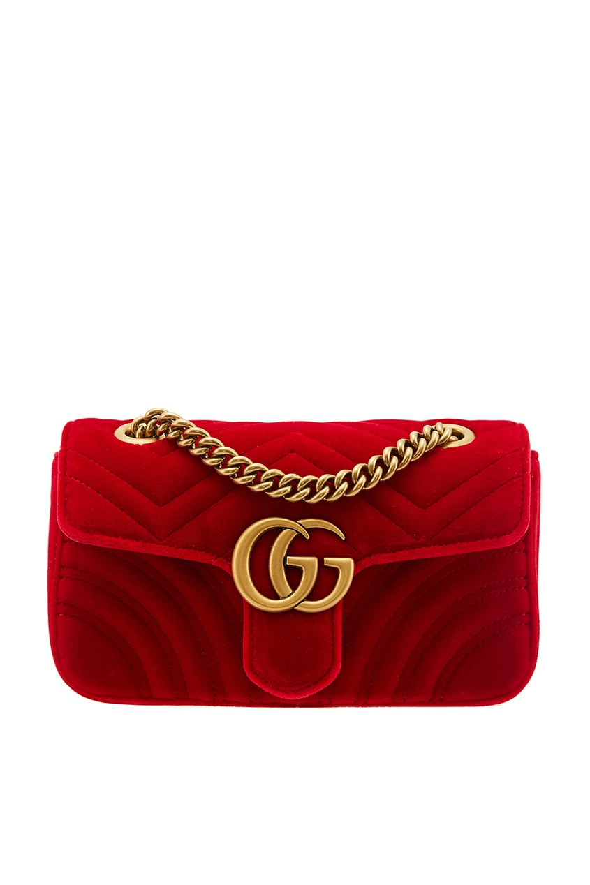 Gucci Красная бархатная сумка GG Marmont gucci кожаная сумка gg marmont