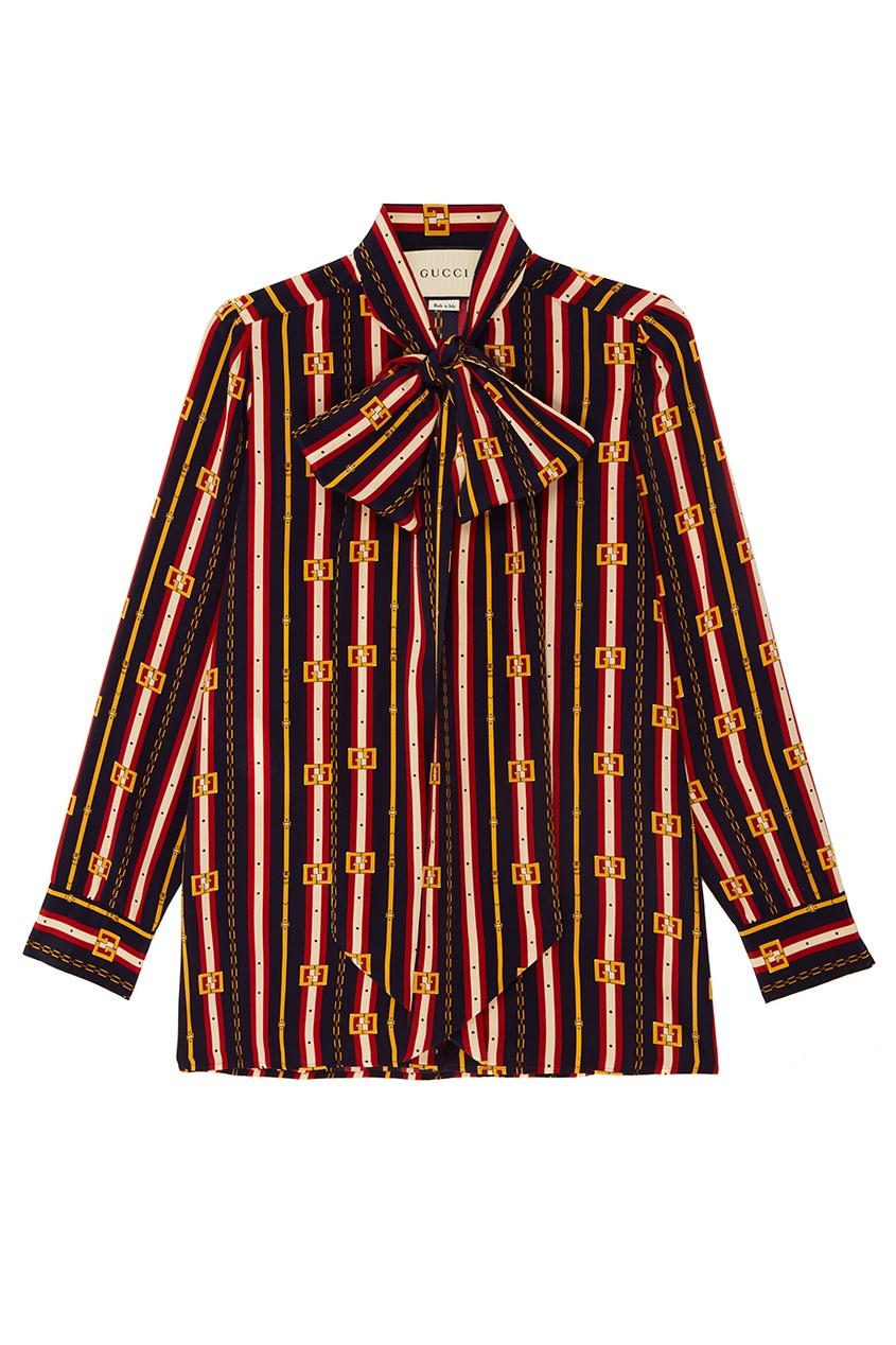 Gucci Шелковая блузка с принтом блузка с принтом