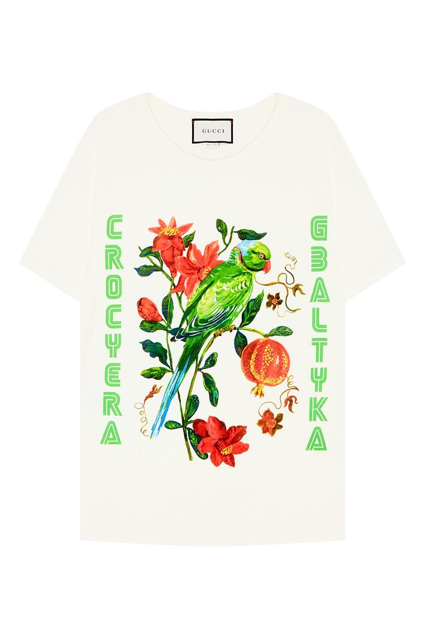 Футболка с цветами и попугаем от Gucci