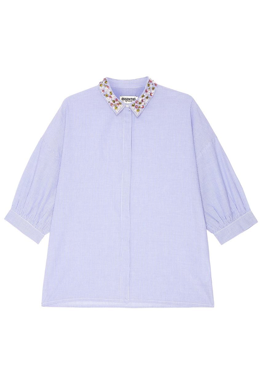 Купить со скидкой Голубая рубашка с вышитым воротником
