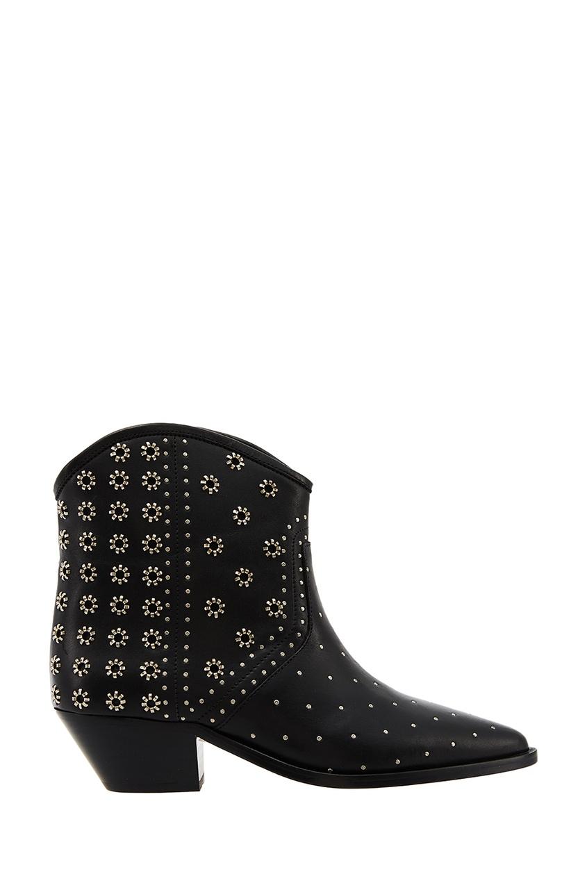Купить со скидкой Ботинки из черной кожи с заклепками