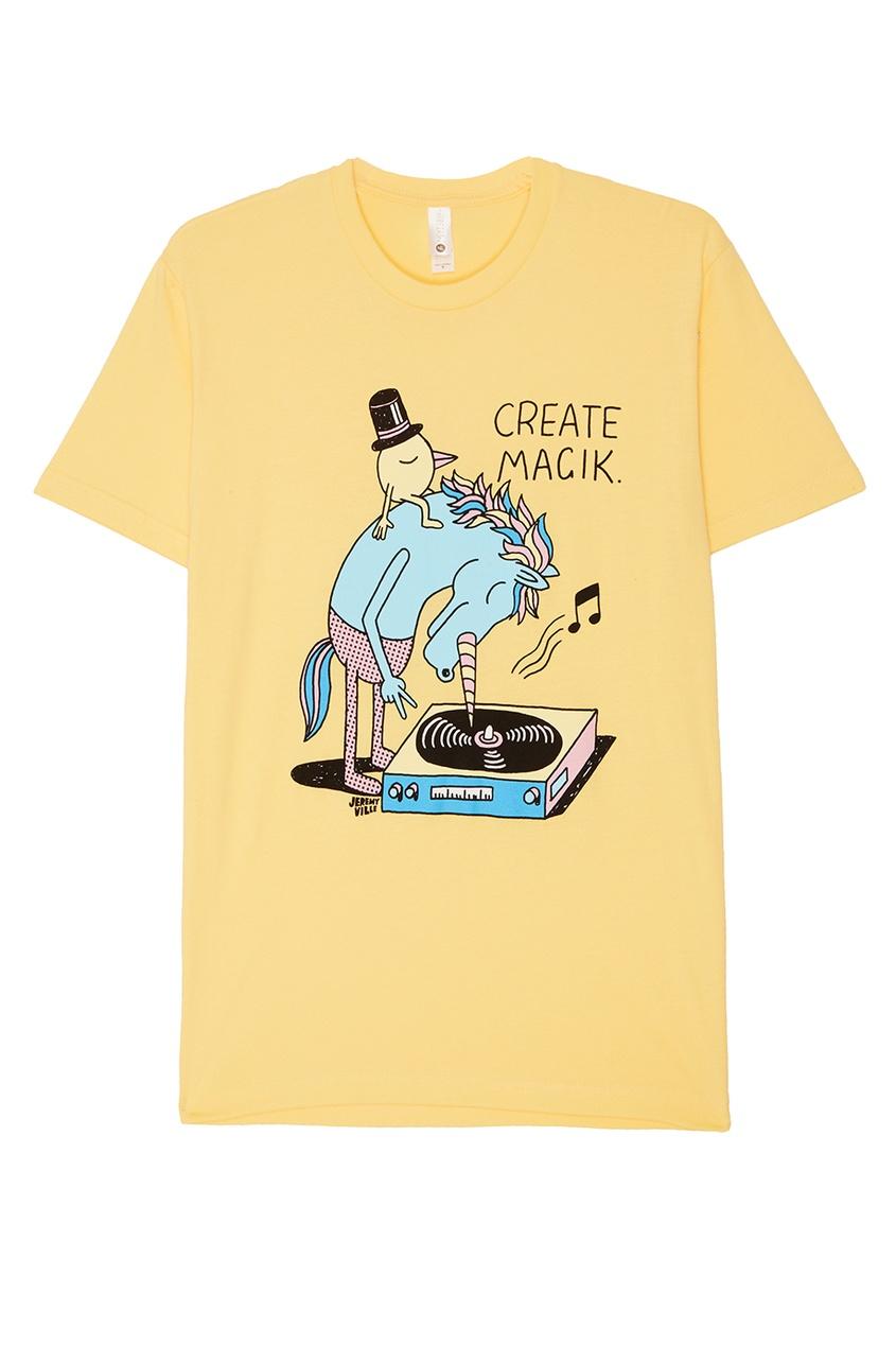 Желтая футболка из хлопка с принтом