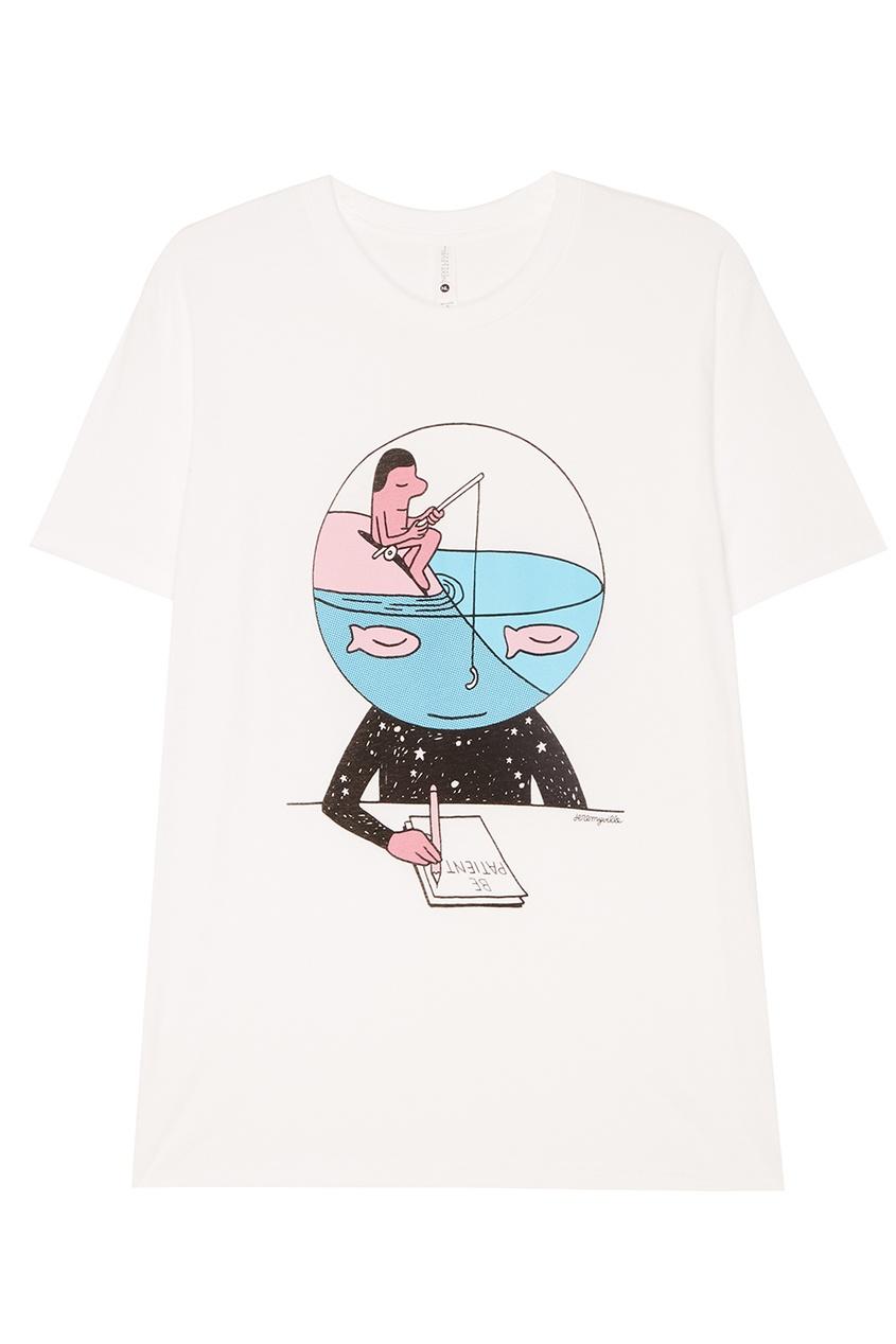 Белая футболка с принтом
