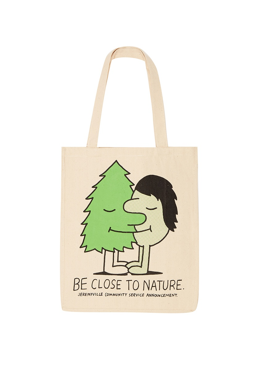 Jeremyville Бежевая сумка из хлопка  принтом Q-Tees Of California/ Print