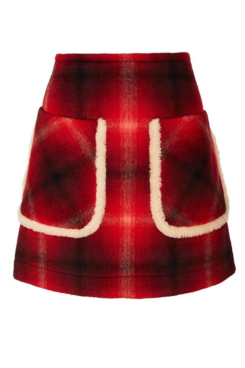 Купить со скидкой Красная юбка в клетку