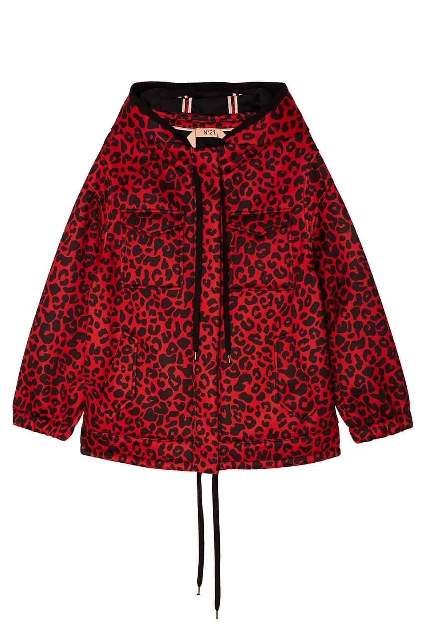 Купить со скидкой Красная куртка с леопардовым принтом