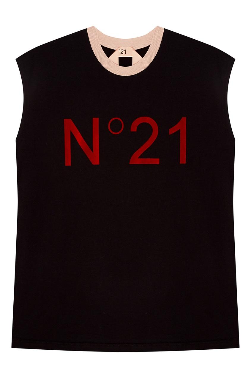 No.21 Черная футболка без рукавов