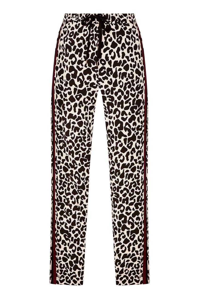 No.21 Брюки с леопардовым принтом no 21 голубые брюки из хлопка