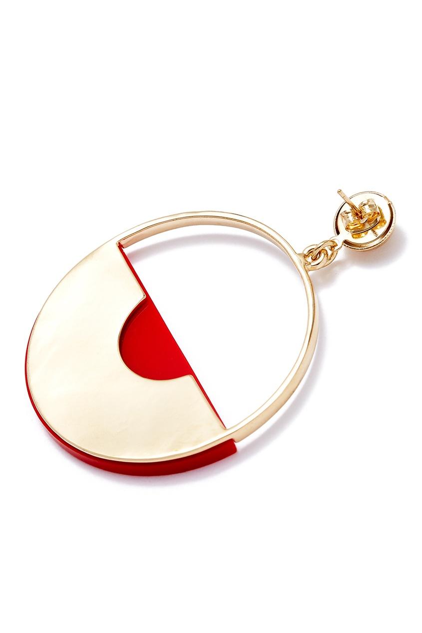 Серьги-кольца с красными вставками Aloud 224385904 Multicolor фото