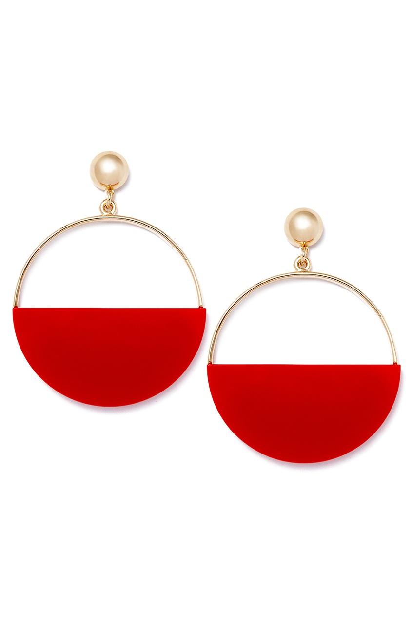 Серьги-кольца с красными вставками