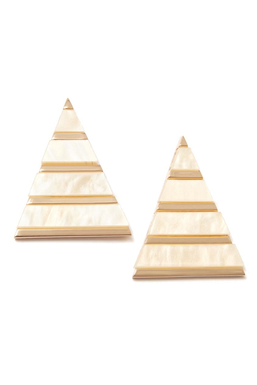 Золотистые серьги-треугольники