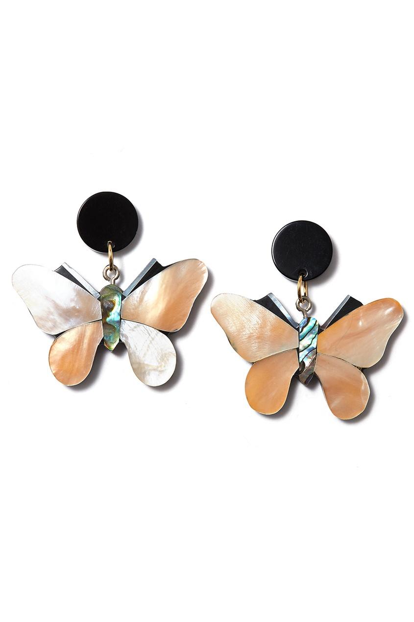 Серьги-бабочки с перламутром