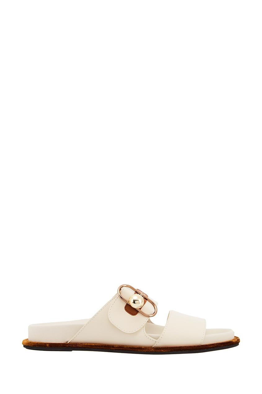 Fendi Белые шлепанцы с пряжкой