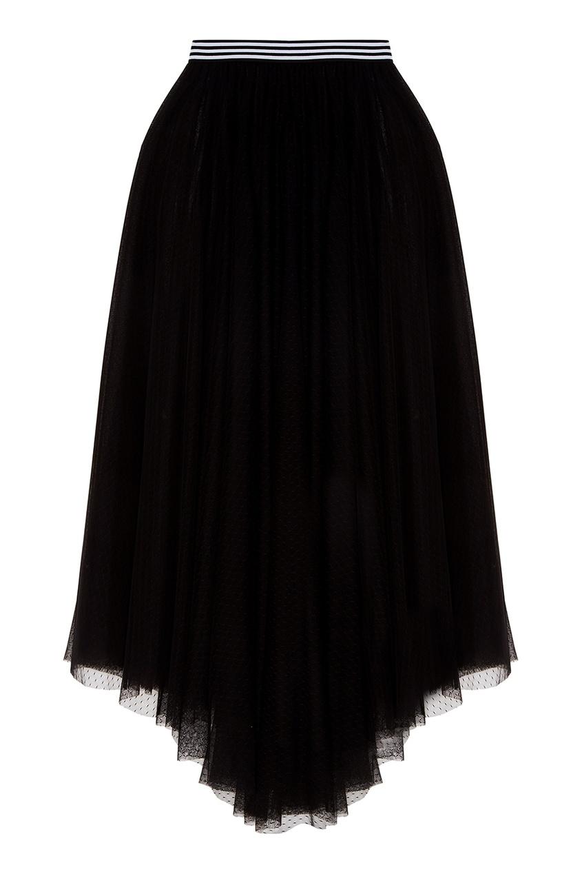 Прозрачная черная юбка-макси
