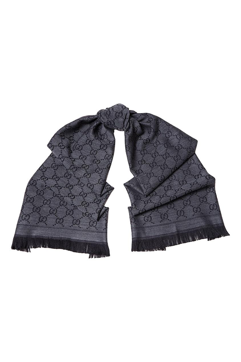 Серый шерстяной шарф с монограммами