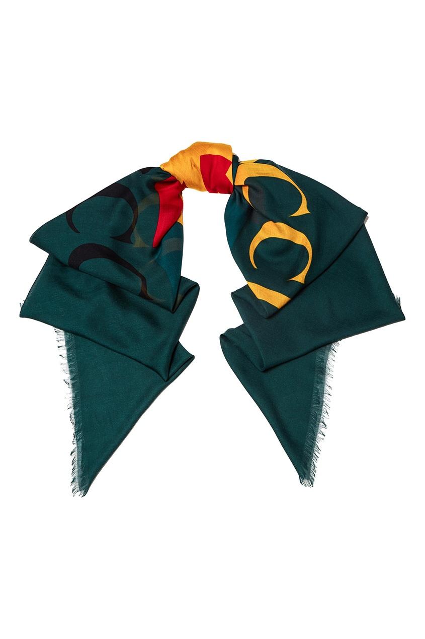 Зеленый шарф с логотипом