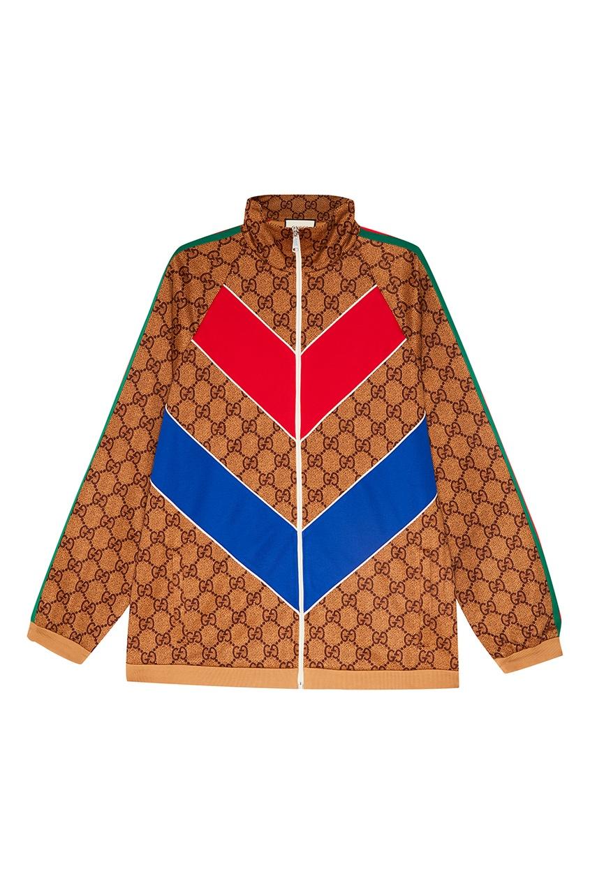 Купить Олимпийка из джерси с монограммами от Gucci Man цвет multicolor