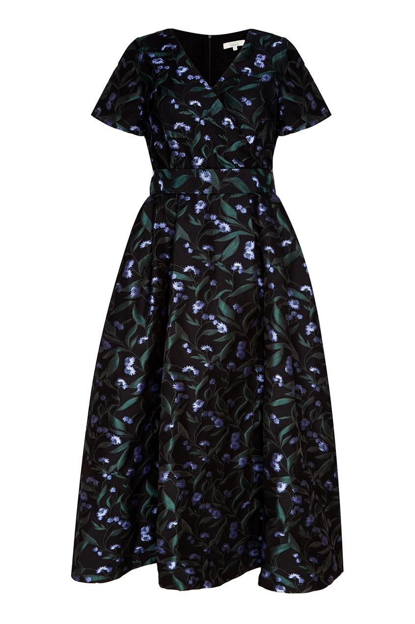 Akhmadullina DREAMS Черное платье с жаккардовым рисунком