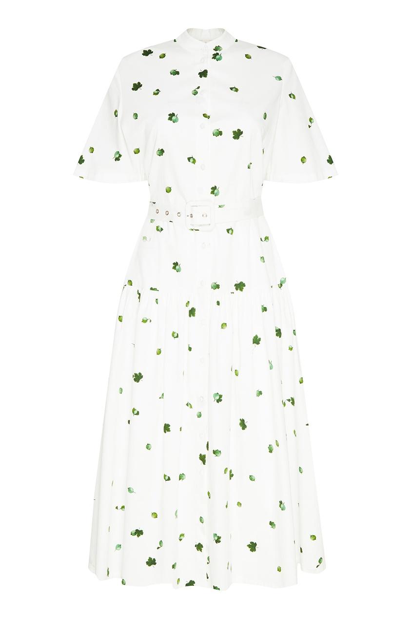Белое платье с принтом