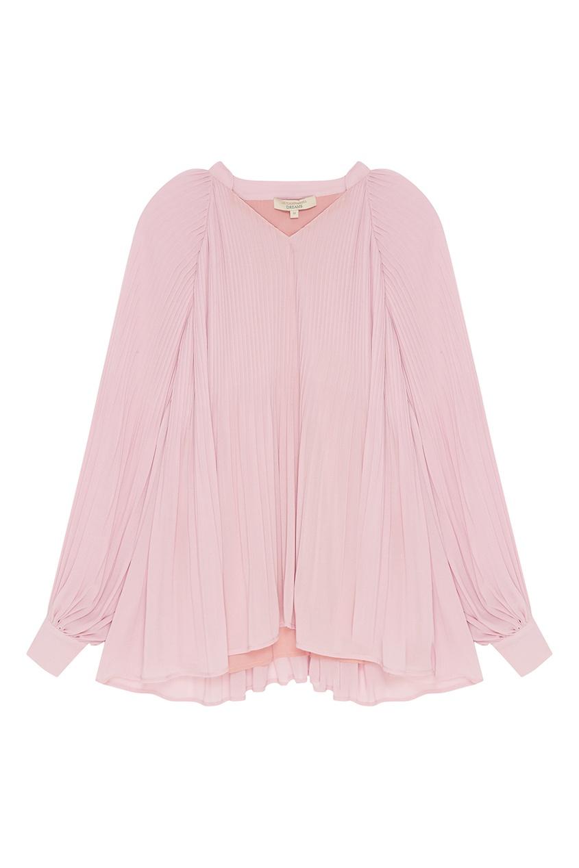 Розовая блузка с плиссе