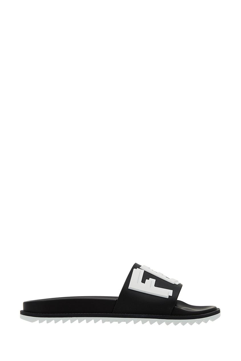 Черные шлепанцы с логотипом Fendi