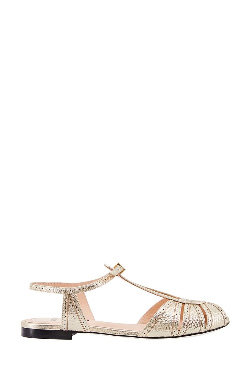 Fendi Кожаные серебристые босоножки fendi босоножки с бархатной отделкой