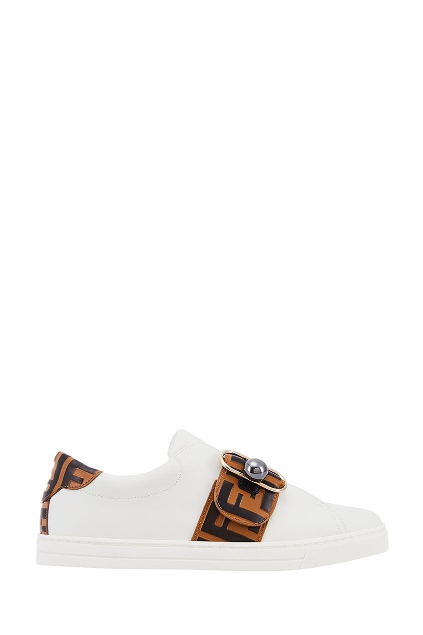 Fendi Белые кожаные кроссовки