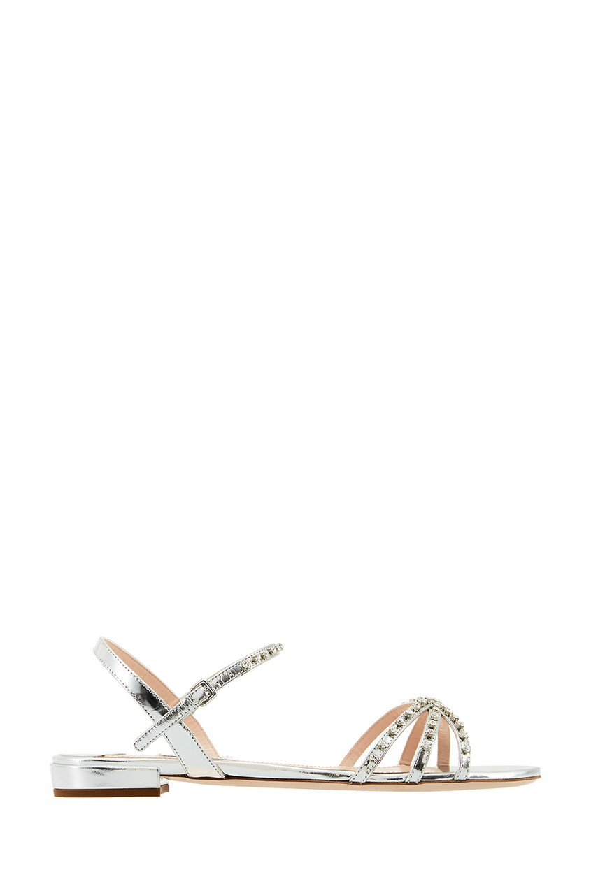 Miu Miu Серебристые босоножки с кристаллами цена