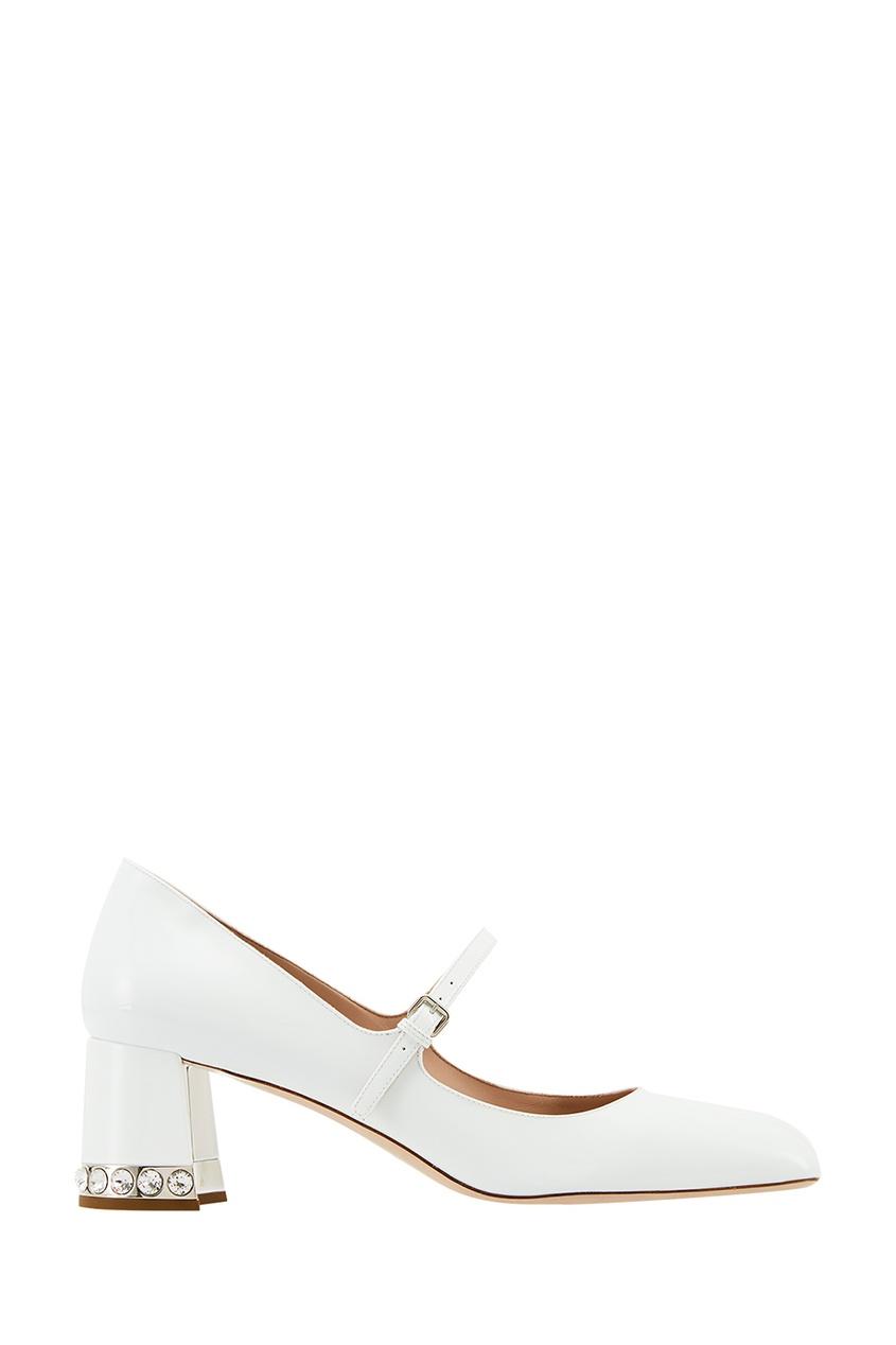 Miu Miu Белые лакированные туфли с кристаллами цена