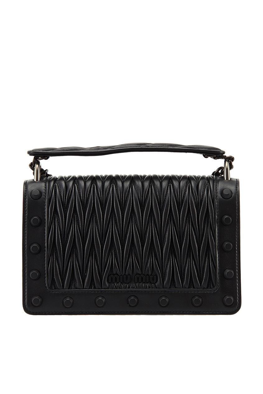 Черная кожаная сумка на цепочке Miu Miu