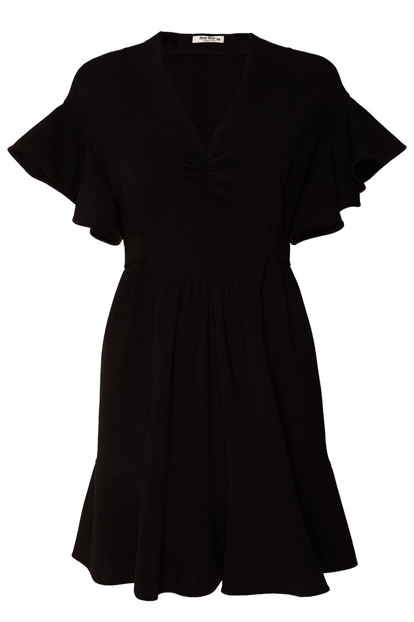 Черное платье с воланами от Miu Miu