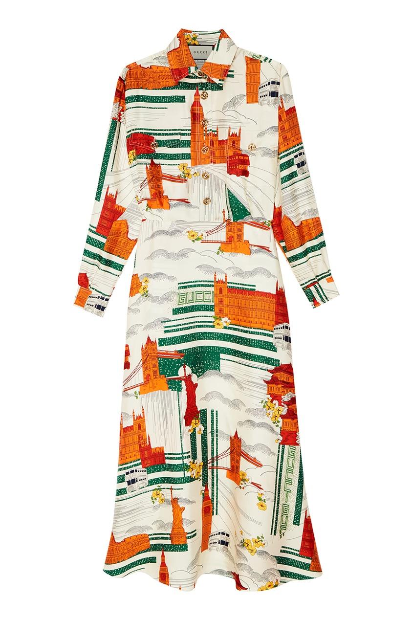 Шелковое платье с контрастным принтом