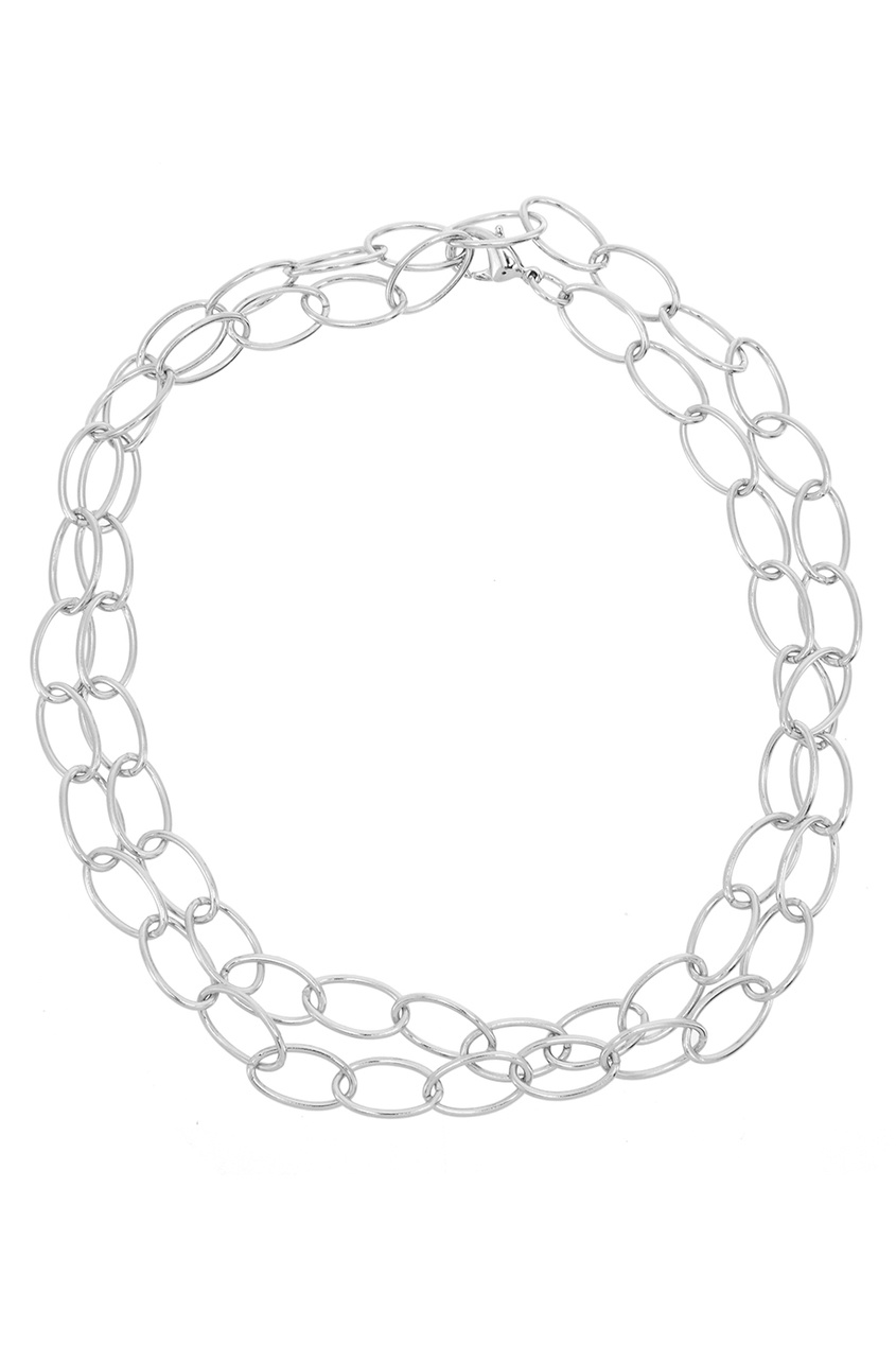 FREYWILLE Крупная серебристая цепочка якорная-овальная freywille цепочка змейка