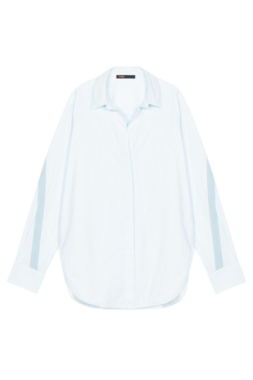 Купить со скидкой Хлопковая голубая рубашка