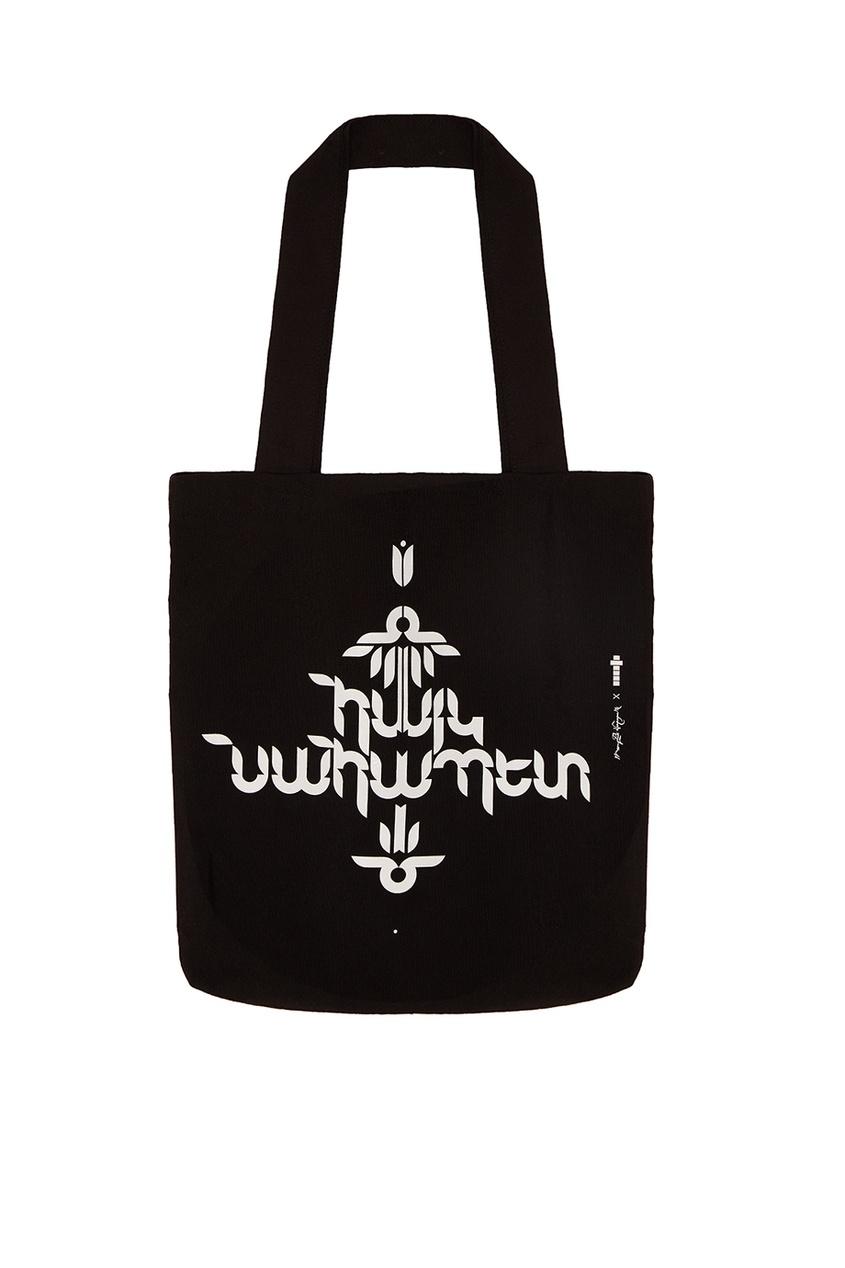 Черная сумка с контрастным принтом Vardoui Nazarian
