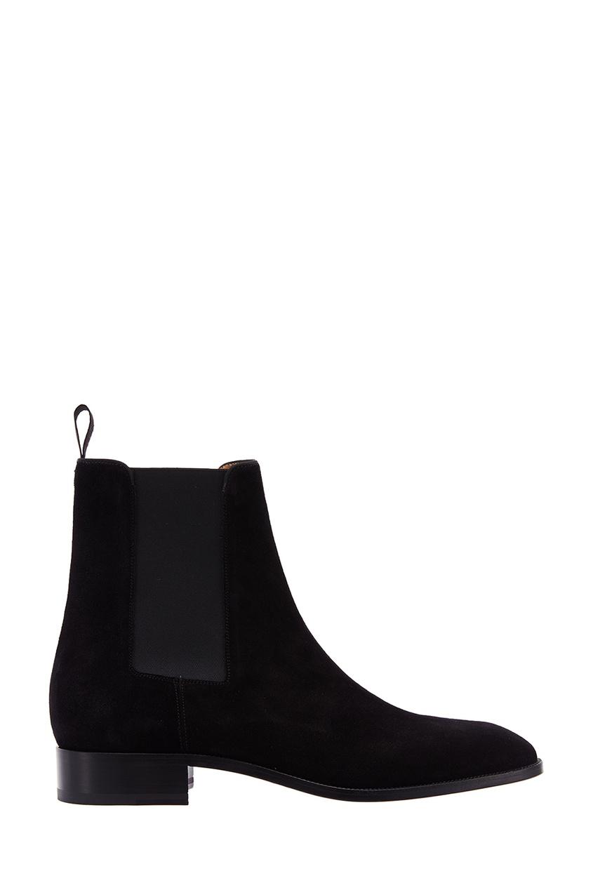 Christian Louboutin Черные замшевые ботинки Samson Flat Crosta