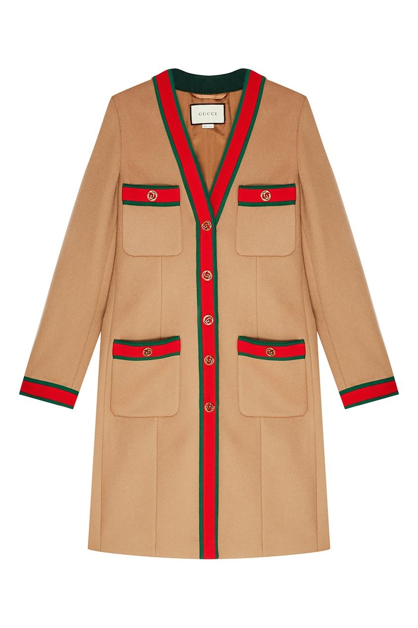 Gucci Шерстяное пальто с цветной отделкой gucci пальто