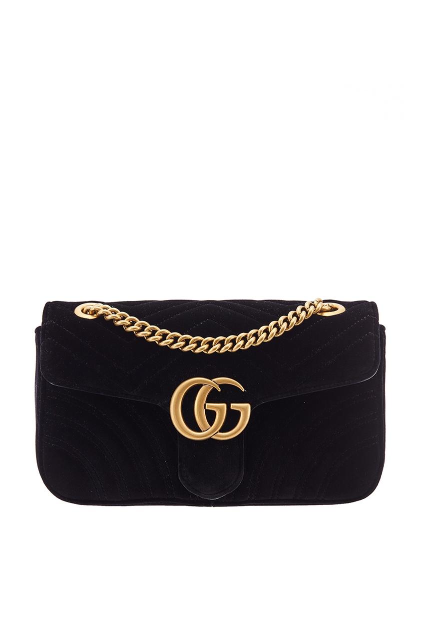 Стеганая бархатная сумка GG Marmont velvet