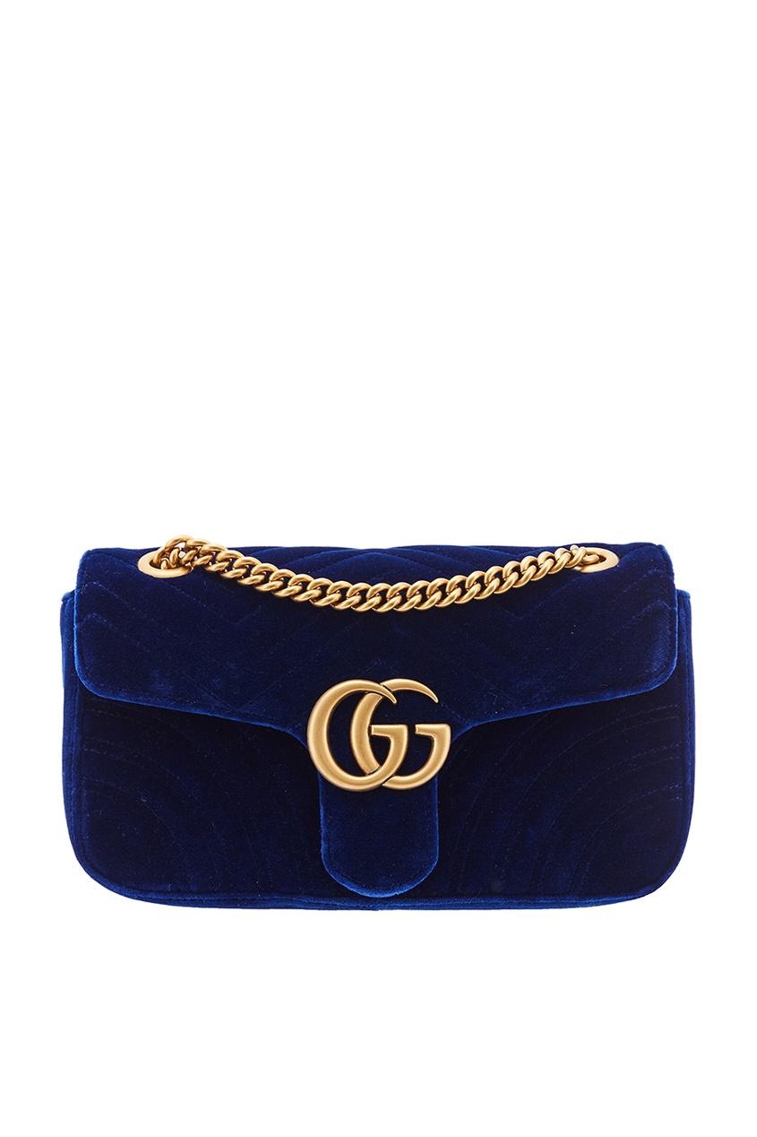Синяя бархатная сумка на цепочке GG Marmont velvet