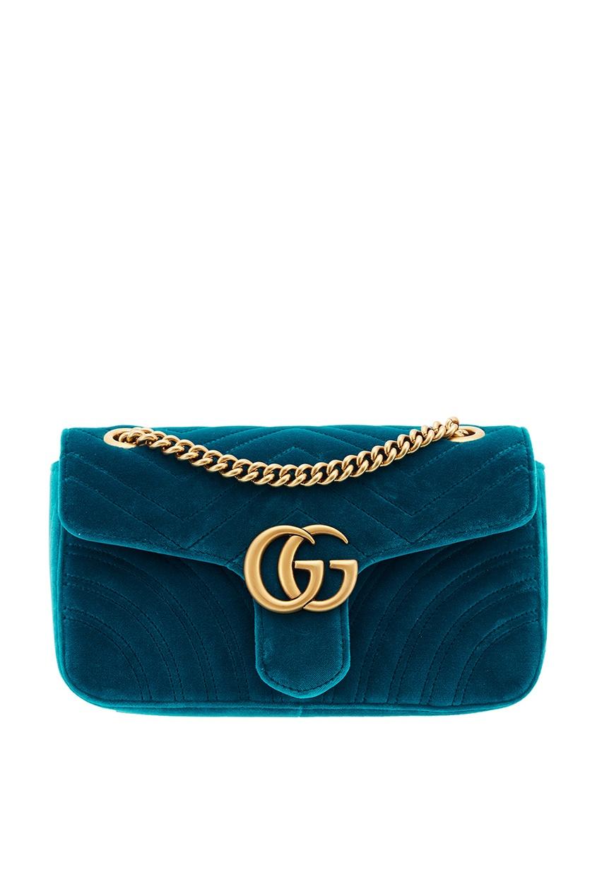 Бирюзовая сумка из бархата GG Marmont velvet