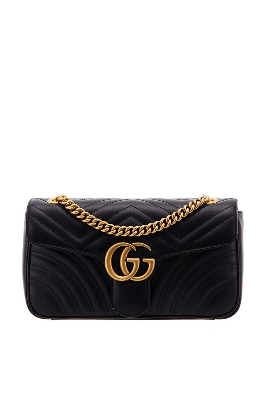 Gucci Черная кожаная сумка GG Marmont gucci кожаная сумка gg marmont